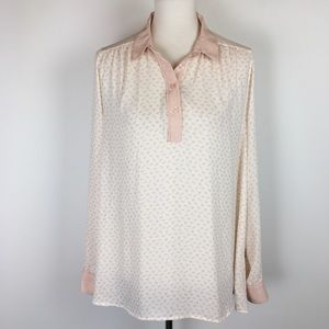 Free People Horse Print Semi-Sheer 1/4 Button Top